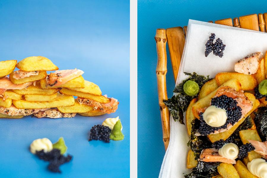 Japans Geinspireerde Kapsalon Recept met Huisgerookte Zalm - Vette Sletten Foodblog #visrecept #friet #zalm