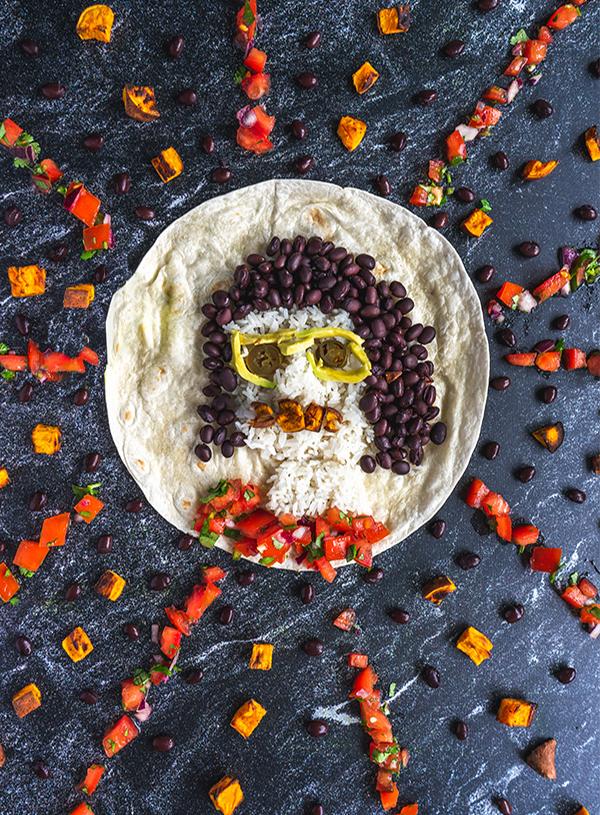 Een zelfportret van Vette Sletten gemaakt met zoete aardappel burrito ingredienten